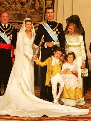 Miss Honoria Glossop:  King Juan Carlos, Crown Princess Letiza, Crown Prince Felipe, Queen Sofia and attendants Juan Froilan and Victoria Frederika, children of Infanta Elena and Jaime de Marichalar, Royal Wedding of the crown princely couple, 2004.