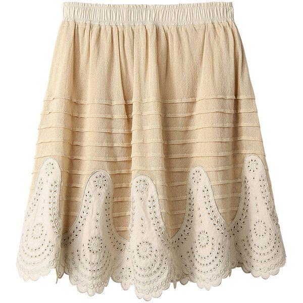【ELLE SHOP】コットンレースカットワークスカートベージュ|マリリンムーン(MARILYN MOON)|ファッション通販 エル・ショップ featuring polyvore women's fashion clothing skirts bottoms brown skirt