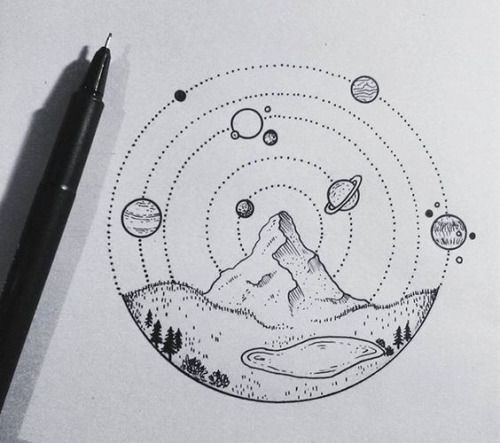 circular mountain scene with orbiting planets.