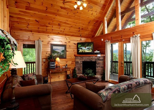 This beautiful  3 bedroom 3 bathroom log cabin is conveniently located in Gatlinburg's premier log home community, Black Bear Falls, away from the crowds yet just minutes away from downtown Gatlinburg and just a short drive to Pigeon Forge. Relax in front of one of two stone fireplaces and enjoy the warm wood finishes and tasteful décor that Mountain Adventure has to offer you, your friends and family. #fun #view #mountain #family