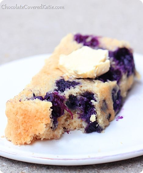 It's somewhere between a muffin and a cake... from @choccoveredkt... perfectly healthy enough to eat for breakfast! http://chocolatecoveredkatie.com/2014/04/27/homemade-blueberry-muffin-cake-bread/