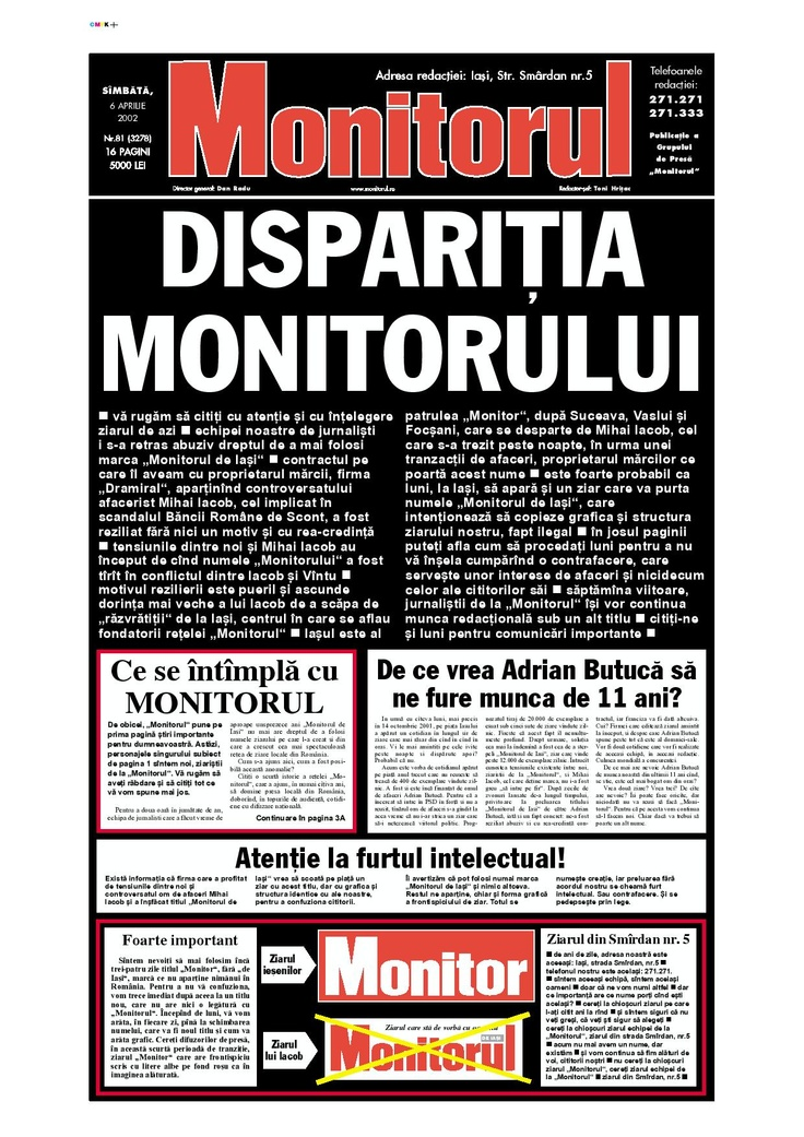 """6 aprilie 2002 - """"Disparitia Monitorului"""""""