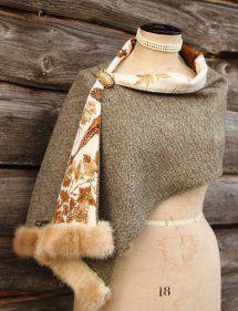 Harriet Hoot Harris Tweed & Vintage Mink Luxury Wrap/Stole