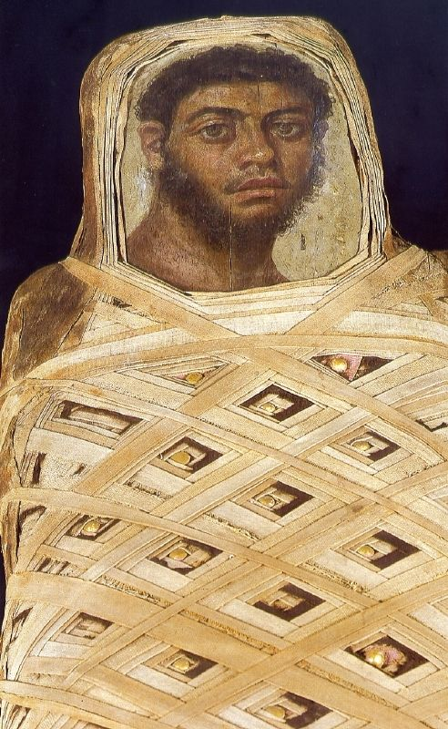 Egyptian Roman Period, 175 - 225 AD mummy portrait found in the oasis of Fayum