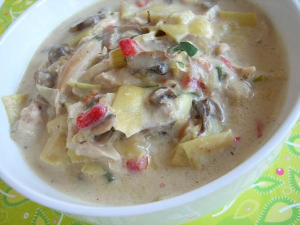 Cream of Artichoke and Mushroom Soup- Definitely adding chicken like the Cheesecake Factory has!
