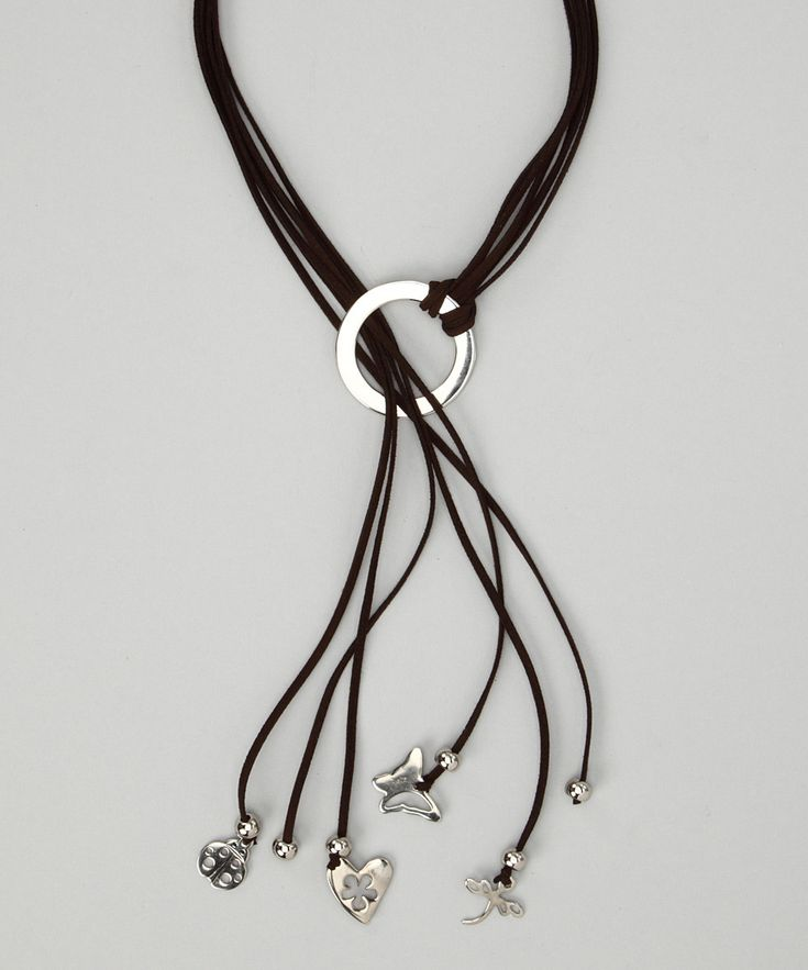 Farfan Jewelry Brown & Silver Suede Charm Necklace