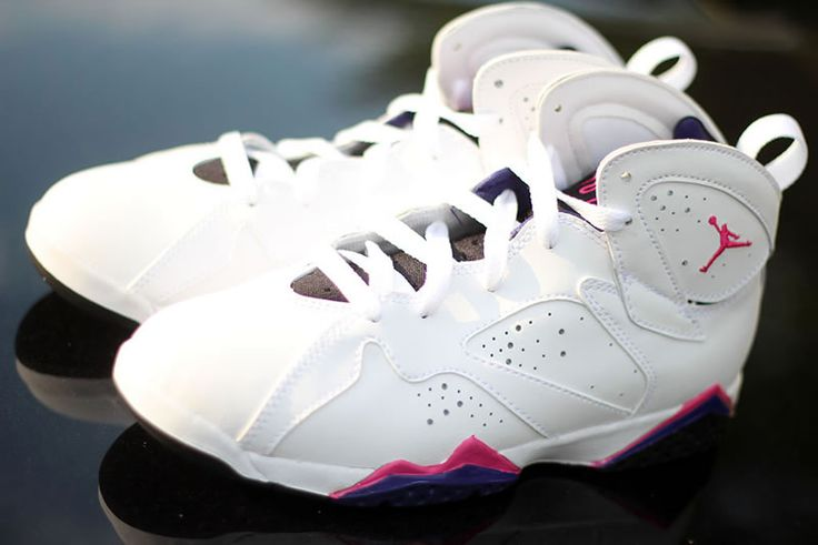 Air Jordan VII Retro Girl's White/Fireberry-Black-Night Blue. Share more New Jordans 2014 joy with my blog www.23isback.me .