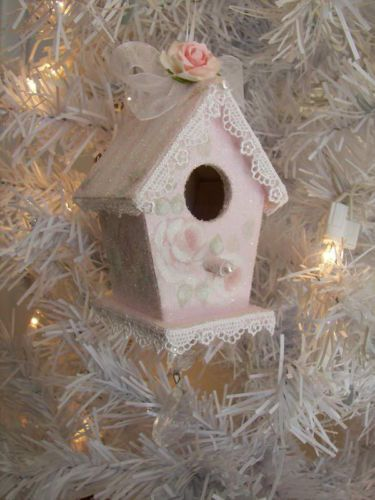 hp pink shabby roses Birdhouse Christmas Ornament cottage victorian chic