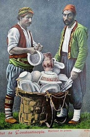ÇÖMLEKÇÍ (potter).  Portrait of two potters and their products.  Istanbul, late 19th century.