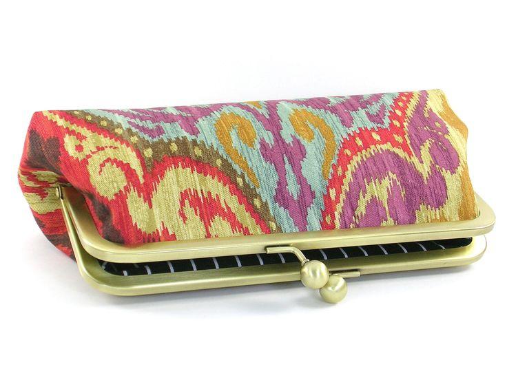 Clutch Purse  Ikat Handbag  Boho Bag  Red Gold Turquoise by BagBoy, $45.00