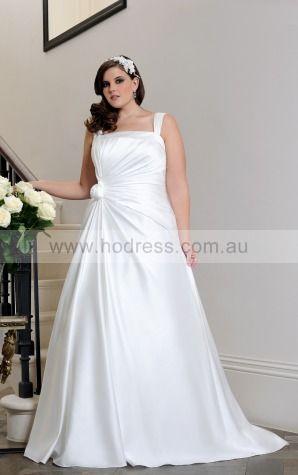 Square Satin Empire Lace-up Wedding Dresses gocf1056--Hodress