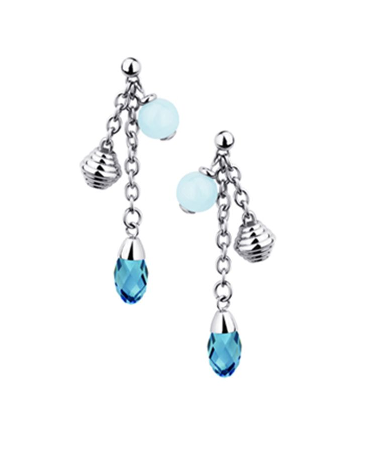 Stainless Steel, Turquoise and Aquamarine Drop Earrings.
