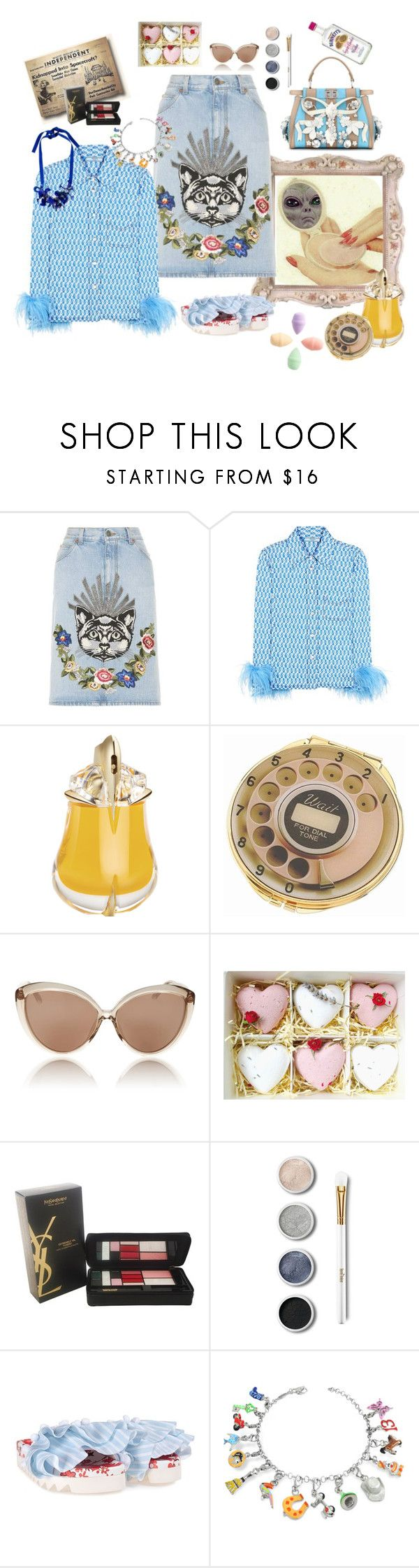"""""""Invasion- put your pretty on 💄"""" by juliabachmann ❤ liked on Polyvore featuring Gucci, Prada, Thierry Mugler, Kate Spade, Linda Farrow, Yves Saint Laurent, Terre Mère, Joshua's and Tedora"""