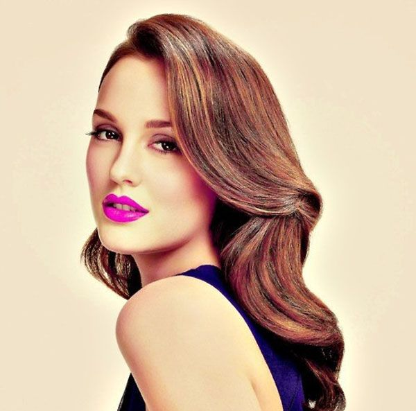 Leighton Meester sporting bright, bold lips.