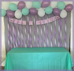 Lavender & Mint OWL themed baby shower - Streamer Back Drop with Balloons