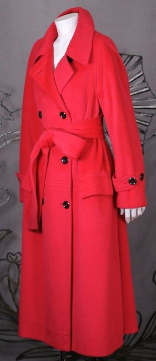 Cherry Cashmere Double Breasted Coat   From a collection of rare vintage coats and outerwear at https://www.1stdibs.com/fashion/clothing/coats-outerwear/
