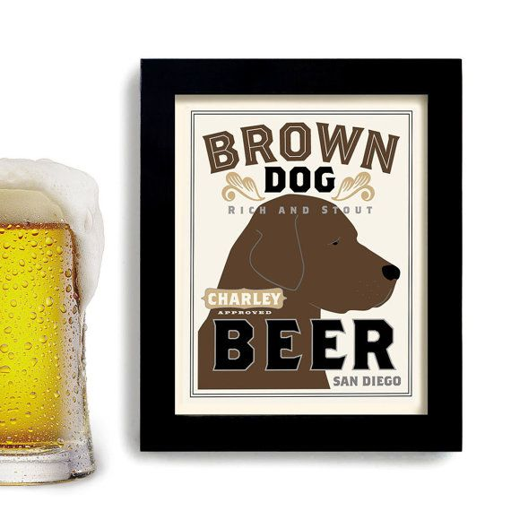 Chocolate Lab Retriever Digital Poster Brown Dog Art Print Personalized with Name and City