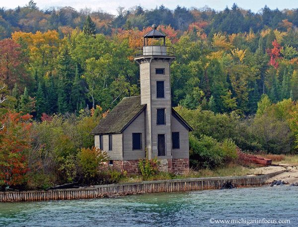 Grand Island East Channel Lighthouse. Located just north of Munising on Grand Island, Alger County, Mi. Built and lit in 1868 on the southern shore of Lake Superior off Michigan's Upper Peninsula. Deactivated in 1908, it was restored in 2000.