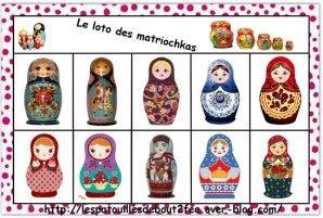 Pour cette deuxième période, j'ai choisi de travailler à partir de contes russes : Nous avons commencé avec le conte : Matriochka. Il est difficile pour des PS/MS, alors je l'ai simplifié. Nous avons surtout travaillé sur les matriochkas et sur la sorcière...