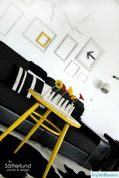 svart,vitt,fondvägg,soffa,retro,loppis,tv-bänk,bord,gult