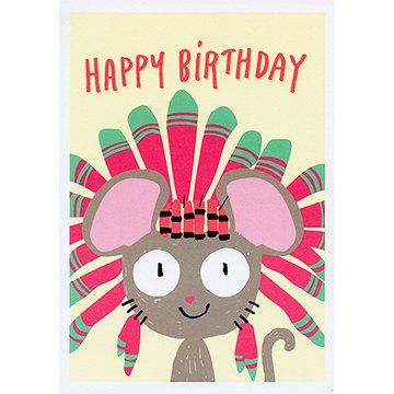 Mouse with Feather Headdress | Happy Birthday Card AC002 |     12.5cm x 17.5cm. |     Printed in the UK #giftcards #wishcards #birthdaycards #wishes