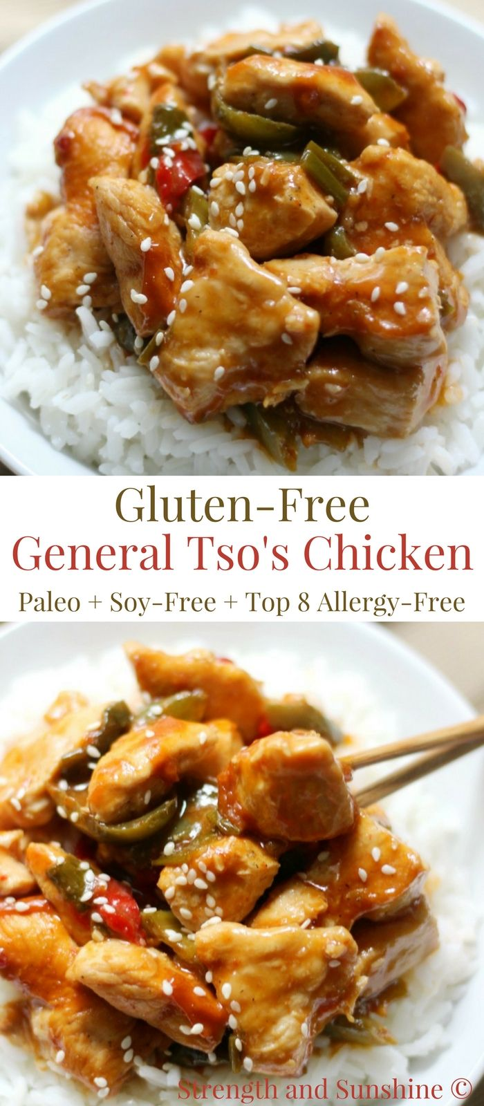 Gluten-Free General Tso's Chicken (Soy-Free, Paleo, Top 8 Allergy-Free) | Strength and Sunshine @RebeccaGF666 A sweet and slightly spicy Chinese takeout favorite you can easily make right at home! This recipe for Gluten-Free General Tso's Chicken is soy-free, paleo, top-8 allergy-free, and can be whipped up for the dinner table in a flash! #generaltsoschicken #chickendinner #glutenfree #chinesetakeout #strengthandsunshine