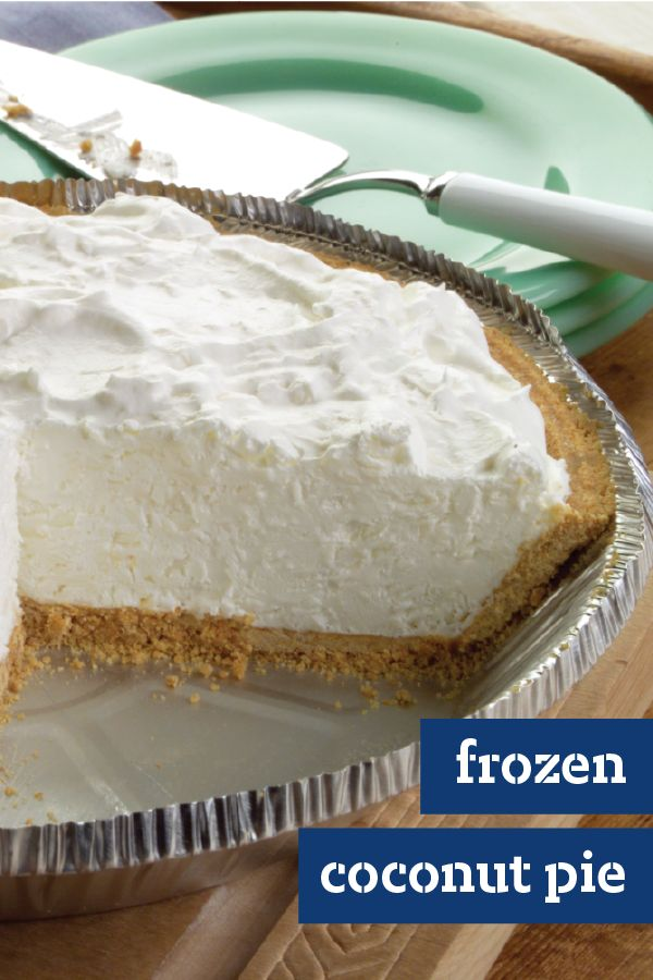 Frozen Coconut Pie – This scrumptious pie recipe, made with cream cheese, whipped topping, and coconut in a graham crust, is ready for the freezer in just 15 minutes. Can you say the perfect easy dessert treat?