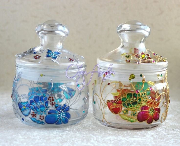 """Jars of sweets """"Dream Lady"""". Painting on glass"""
