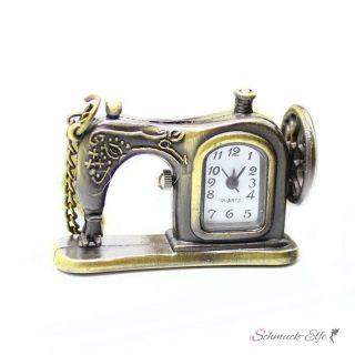 Uhrenkette / Taschenuhr vintage Nähmaschine antik gold