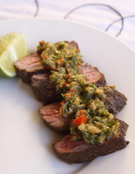 Ostrich Steak with 4 Herb Chimichurri Sauce