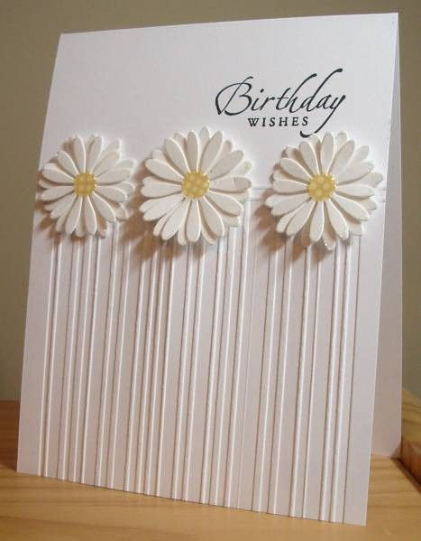 Gorgeous, simple card. Could also be done with Stampin Ups stripe embossing folder or the simply scored tool with the different size embossing stylus.