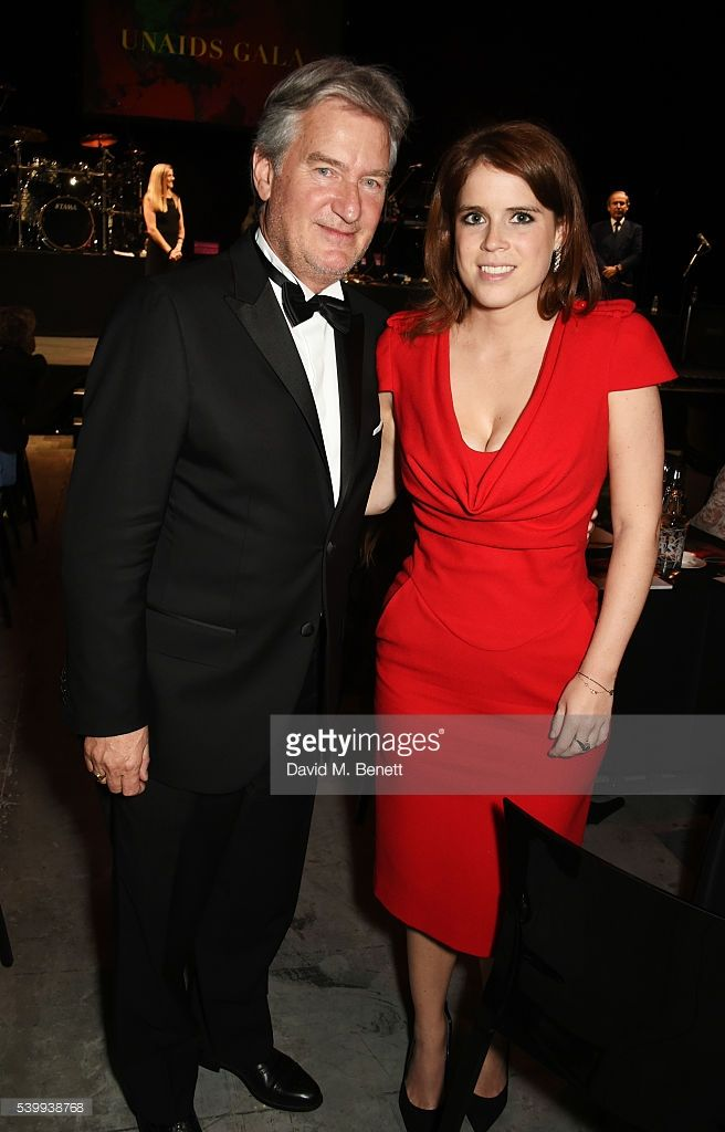 Jurgen Baumhoff (L) and Princess Eugenie of York attend the UNAIDS Gala during Art Basel 2016 at Design Miami/ Basel on June 13, 2016 in Basel, Switzerland.
