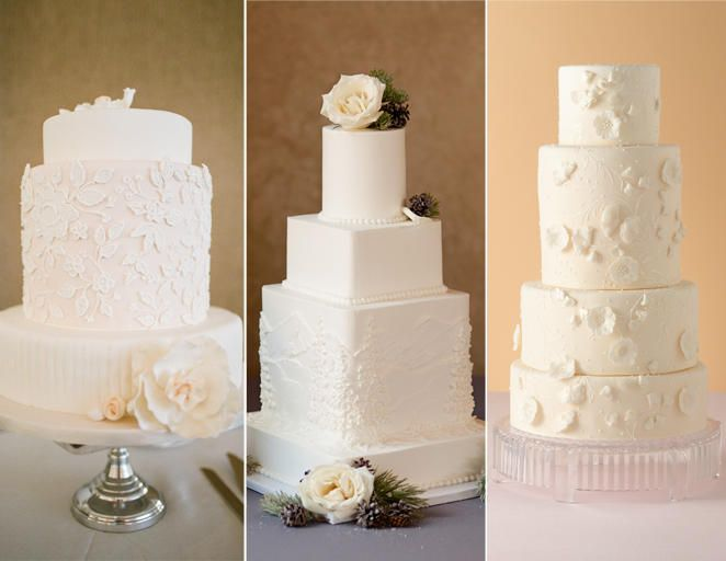 15 Hot Wedding Cake Trends | TheKnot.com White on white-- particularly the third one-- 3D flowers with piping