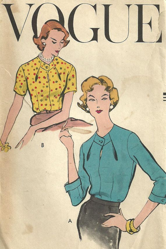 Vogue 9203 Vintage 50s Sewing Pattern Blouse by studioGpatterns - red flower blouse, white shirts and blouses, blue blouse with white polka dots *sponsored https://www.pinterest.com/blouses_blouse/ https://www.pinterest.com/explore/blouses/ https://www.pinterest.com/blouses_blouse/designer-blouse/ http://www.charlotterusse.com/clothes/tops/shirts-blouses