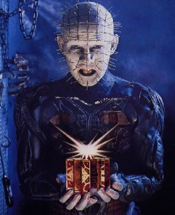 Pinhead from Clive Barker's The Hellbound Heart novella and the legion of movies it has spawned. Here's another pin my friend.: