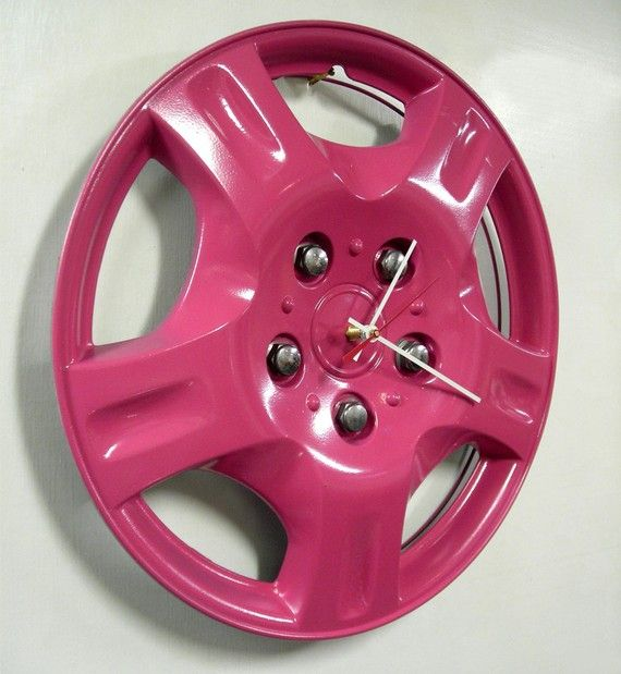 Upcycled Hubcap Clock  Car Clock  Hot Pink by StarlingInk on Etsy