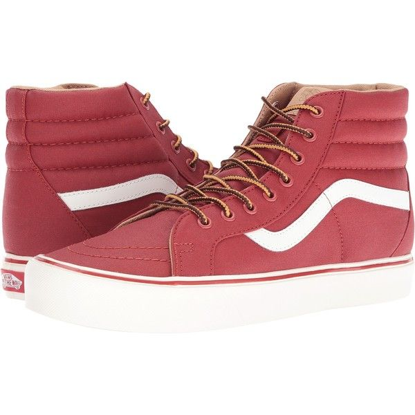 Vans SK8-Hi Reissue Lite ((Heritage) Bosa Nova/Classic White) Skate... ($45) ❤ liked on Polyvore featuring shoes, sneakers, red, red high tops, white hi top sneakers, red trainers, white high-top sneakers and red hi top sneakers