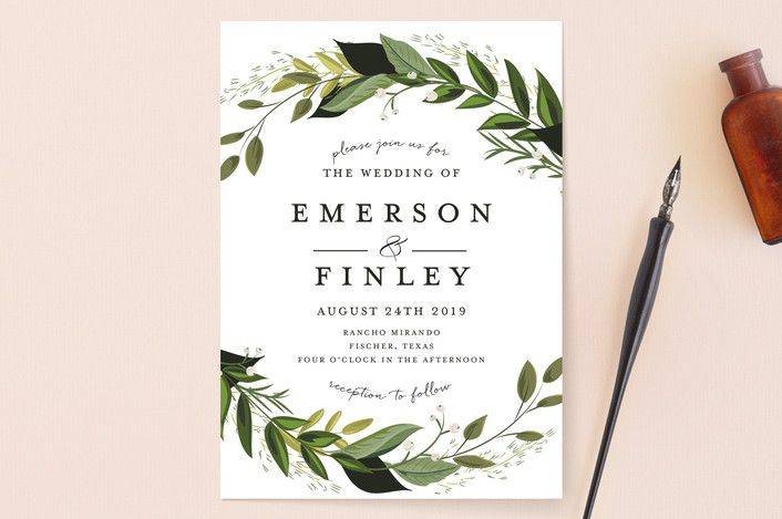 """""""Vines of Green"""" - Floral & Botanical Wedding Invitations in Fern by Susan Moyal."""