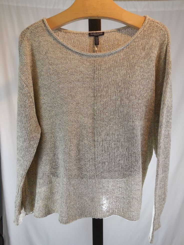 B WOMANS TWISTED SILK KNIT BOX-TOP SWEATER EILEEN FISHER PLUS 2X 3X $348 #EileenFisher #Crewneck