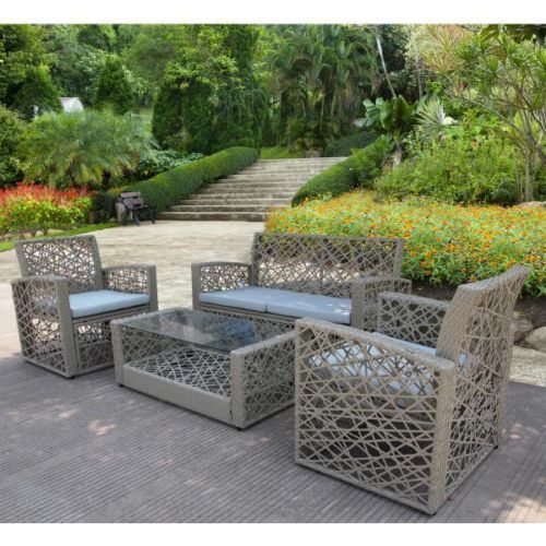 Modern Outdoor Wicker Furniture Table Arm Sofa Chairs Love Seat Cushions Set