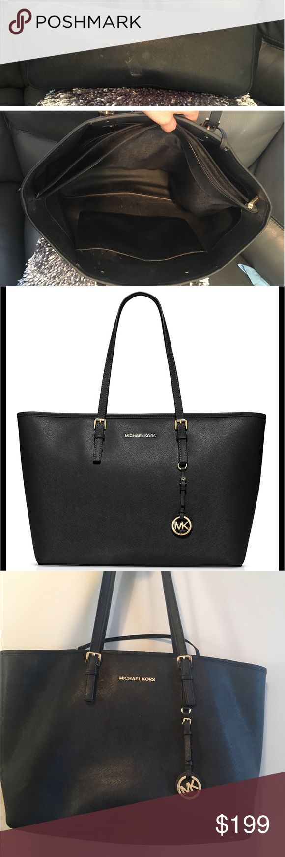 """Michael Kors Large Apple Jet Set Tote Black Join the jet set with this leather tote from MICHAEL Michael Kors. Its roomy silhouette and utilitarian zip compartment hold all your travel essentials.  Purchased from the Apple store it has the padded compartment in the middle to fit any device up to 17 inches  Can be professionally cleaned to look new  Large size Tote  •Interior zip pocket, five interior slip pockets, interior zip compartment •Logo on front, logo hang tag •17""""L x 11.5""""H x 5""""W…"""