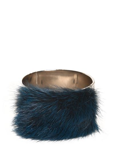 FENDI | MINK FUR ON BRASS METAL CUFF