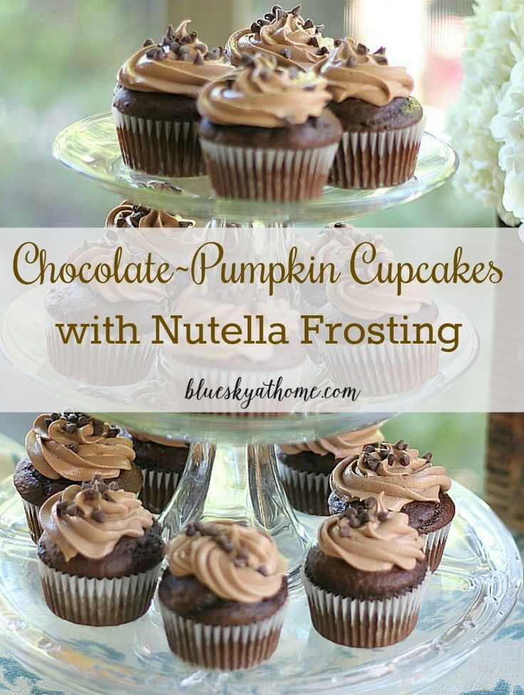 Chocolate-Pumpkin Cupcakes with Nutella Frosting ~ delicious, moist cupcakes will be the star of any party, especially for fall. BlueskyatHome.com