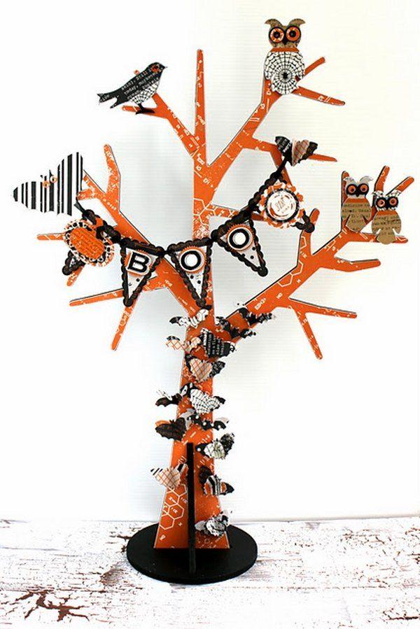 halloween tree decoration ideas halloween paper craft for kids diy decoration ideas