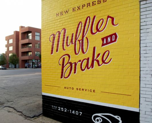 modern vintage painted sign