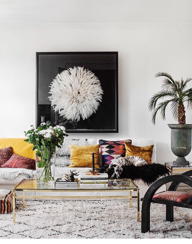 Bohemian living room in primarily black & white