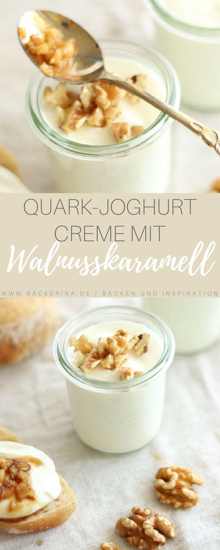 Rezept für eine süße Joghurt-Quarkcreme mit flüssigem Karamell und Walnüssen. Als leckerer Brotaufstrich oder als Dessert mit frischem Obst.