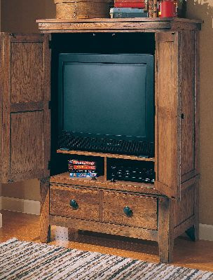 3397 67s Broyhill Furniture Attic Heirlooms 62in Entertainment Console    Stain