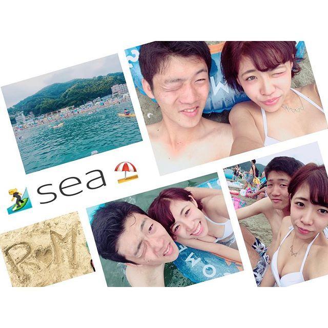 【ririmimi10】さんのInstagramをピンしています。 《#0814#りょうくんと#海 🐳  #静岡 #長浜海水浴場 #ペア水着 #焼けた #sea》
