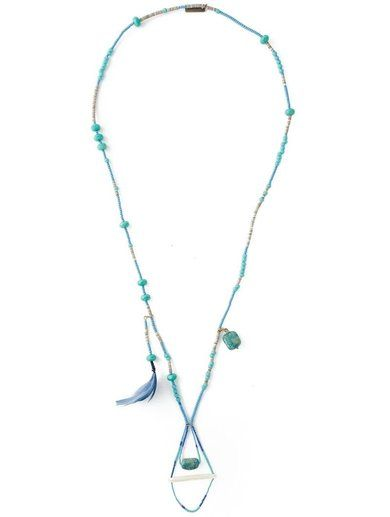 Etro Long Feather Beaded Necklace